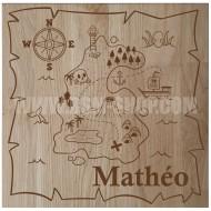 Panneau bois ' Enfant - Carte - Pirate '