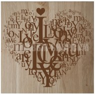 Panneau bois ' Love - Coeur '