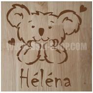 Panneau bois ' Enfant - Koala - Coeurs '