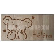 Panneau bois ' Enfant-Koala-Coeurs '