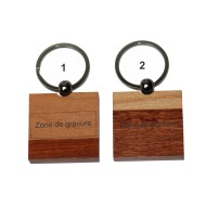 Porte-clé bois carré bicolore