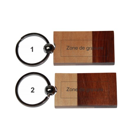 Porte-clé bois rectangle bicolore